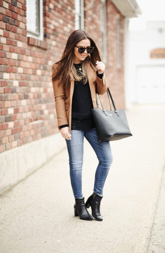 dress corilynn blogger jacket sweater jeans shoes bag sunglasses jewels blazer ankle boots tote bag skinny jeans