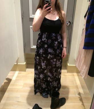 dress forever 21 flowers maxi dress black dress