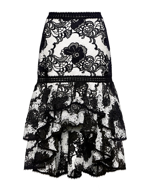 skirt ruffle lace floral white black