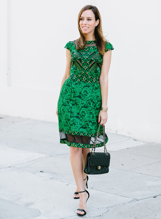 sydne summer's fashion reviews & style tips blogger dress bag jewels shoes date outfit mesh mesh dress midi dress green dress pattern printed dress black bag chanel chanel bag