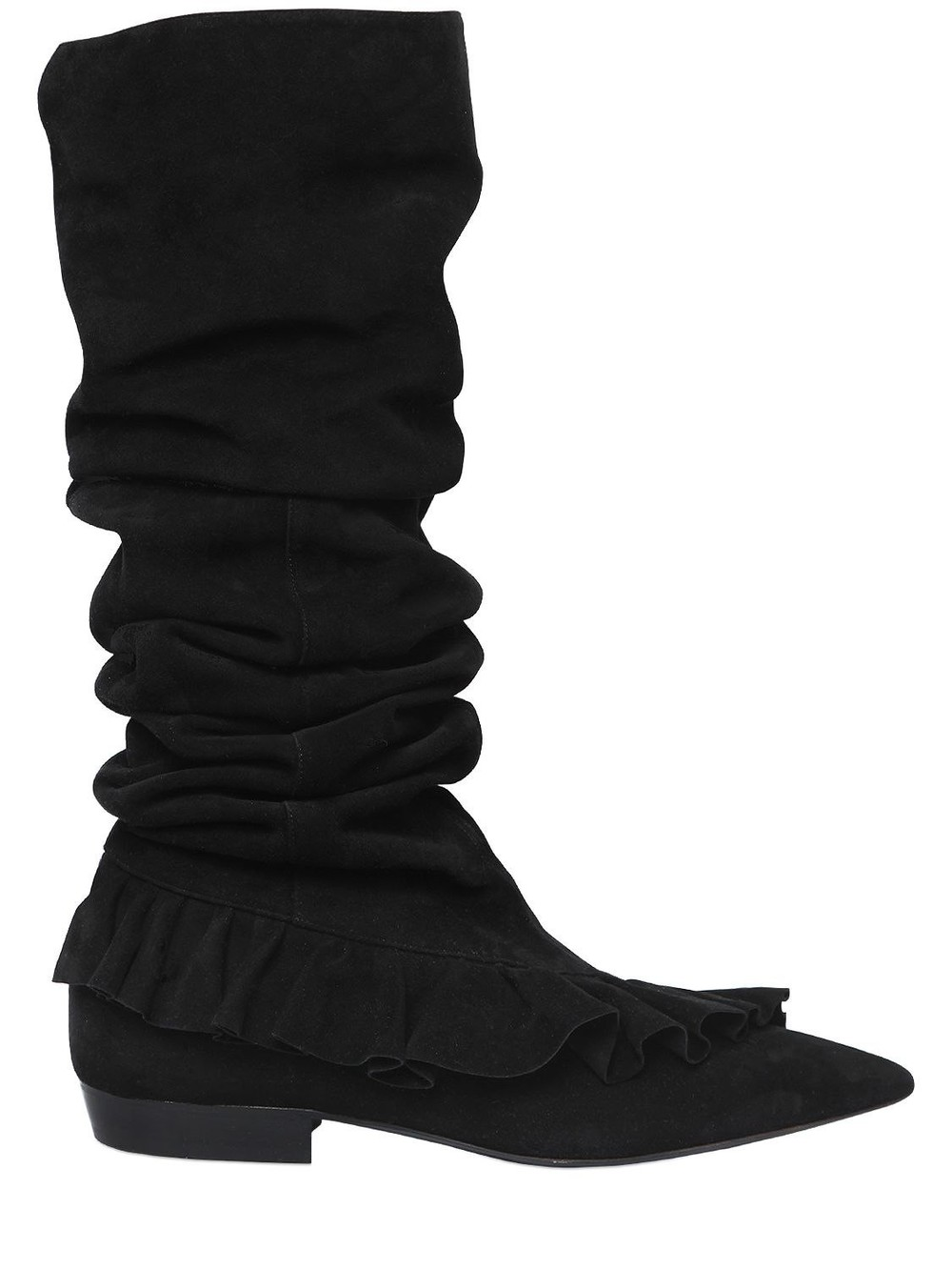 J.W.ANDERSON 10mm Ruffle Suede Boots in black