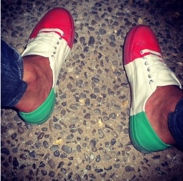 shoes, red, white, green, sneakers, tri