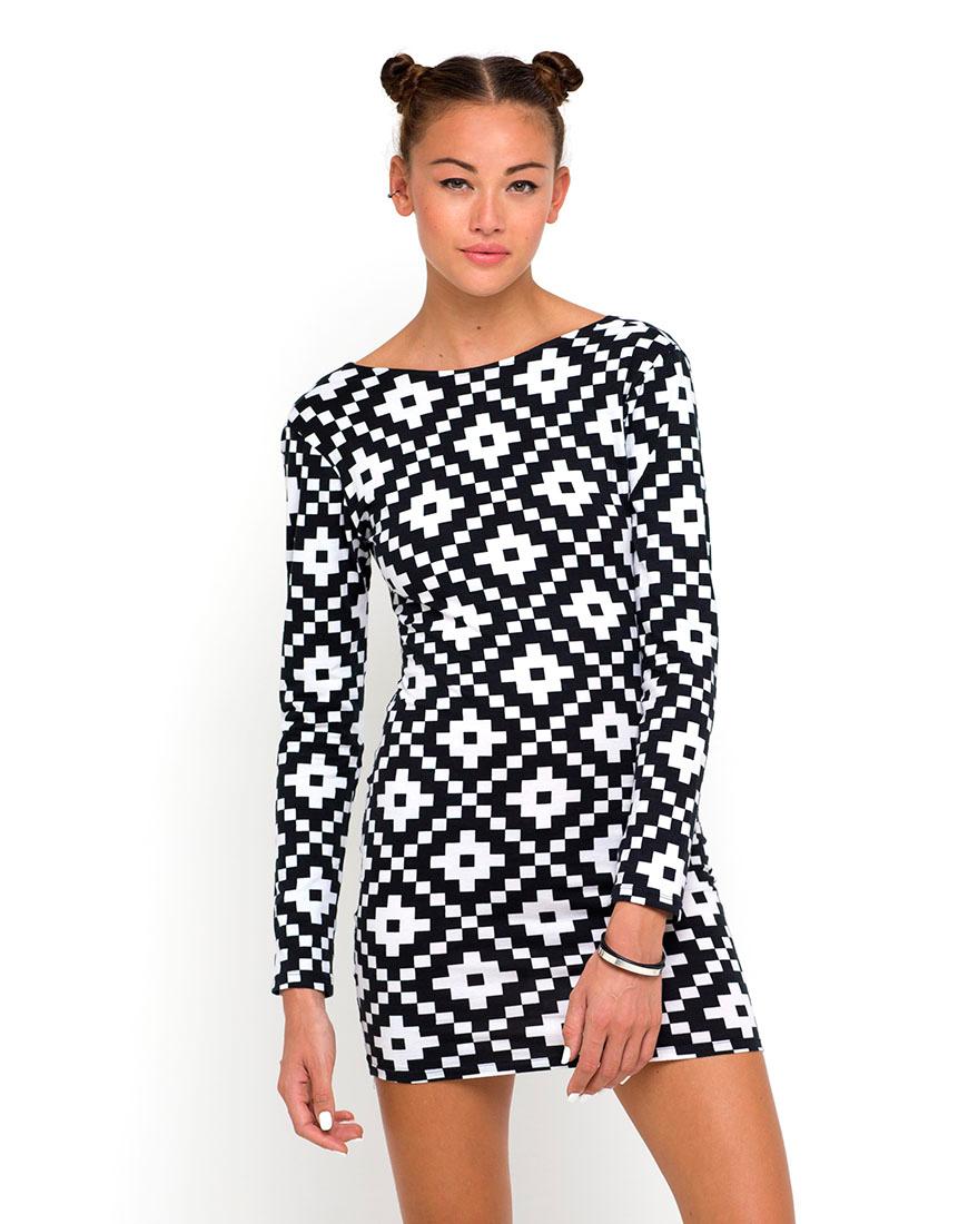 Buy Motel Sarah Long Sleeve Dress in 8 Bit Print at Motel Rocks