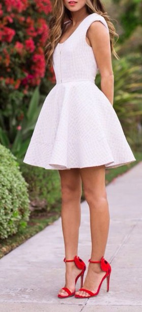 dress white dress summer dress style fashion lace dress tank top circle dress red heels white circle skirt full skirt short dress shoes red short heels pink short cute graduation heels red