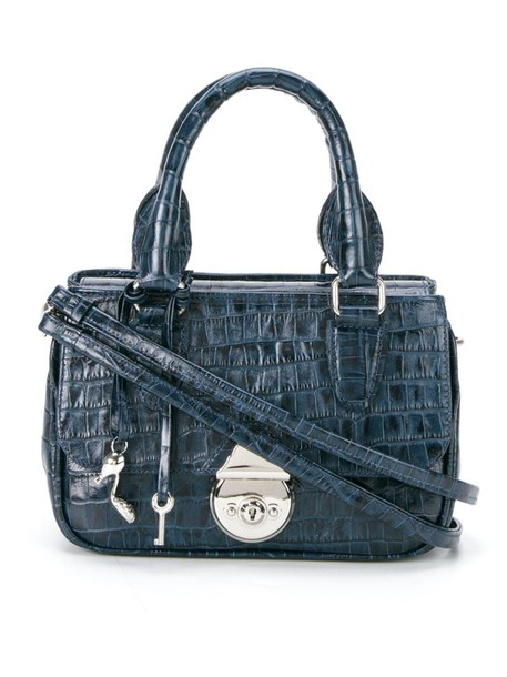 Sarah Chofakian - tote bag - women - Leather/Polyester - One Size, Blue, Leather/Polyester