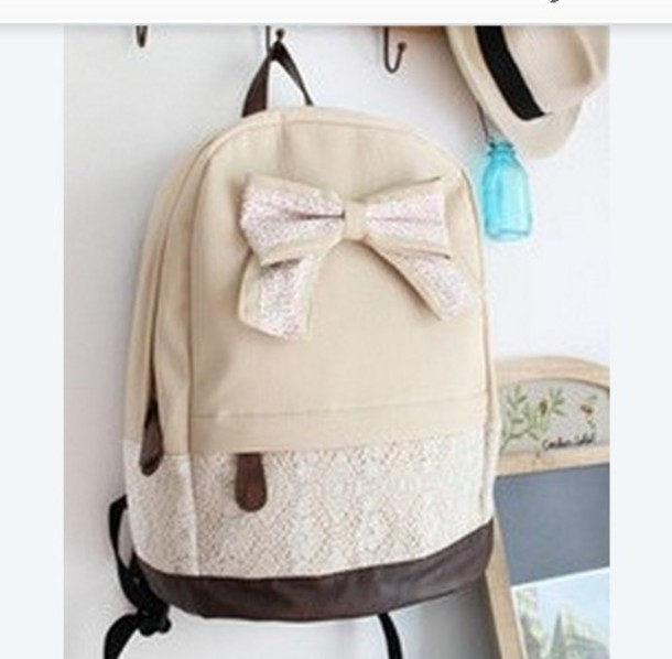 Bag: lace backpack, school bag, school bag, canvas backpack ...