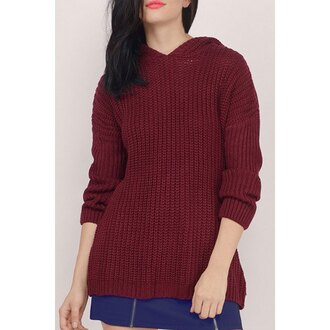 sweater fall outfits burgundy long sleeves stylish women's hooded solid color long sleeve sweater trendy casual warm rose wholesale-dec zaful