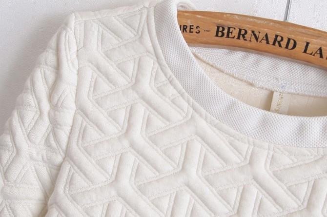White Long Sleeve Embossment Zip Sweatshirt - Sheinside.com