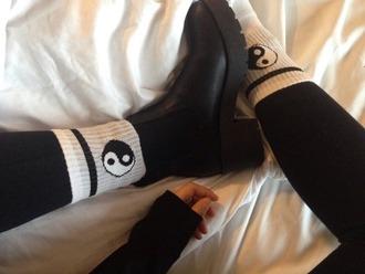 socks yin yang white grunge tumblr black
