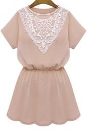 dress,girly,summer,fashion,style,cute,spring,kawaii,trendy,light pink,lace,beautifulhalo,mini dress