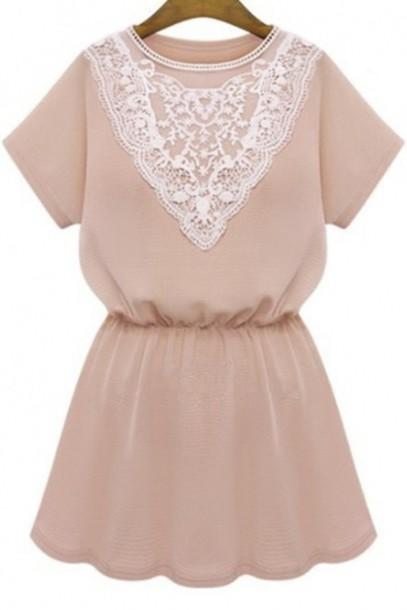 dress girly summer fashion style cute spring kawaii trendy light pink lace beautifulhalo mini dress