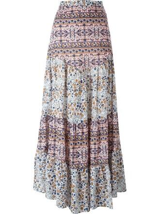 skirt maxi skirt boho maxi floral print purple pink