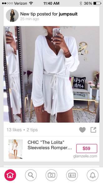 jumpsuit white long sleeves shorts