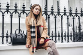 lydia elise millen,blogger,sweater,coat,scarf,shoes,bag,beige coat,winter outfits,thigh high boots,boots,knitted dress,handbag,givenchy bag