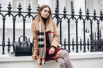 lydia elise millen blogger sweater coat scarf shoes bag beige coat winter outfits thigh high boots boots knitted dress handbag givenchy bag