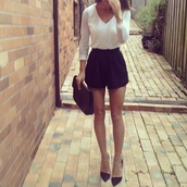shorts,blogger,High waisted shorts,black,high heels,white blouse,shoes,blouse,shirt,short,hipster,vintage,hoes,white,dress,skirt,sweater,hoodie,combination,perfect,hot,girl,skinny,clothes,black shorts,fashion,fancy,cute,pretty,casual,formal,white shirt,t-shirt,black and white,style,formal event outfit