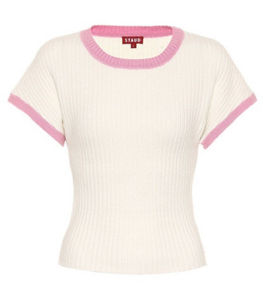 Staud Jarvis ribbed knit T-shirt in white