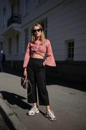 pants,crop tops,black pants,shoes,bag,sunglasses