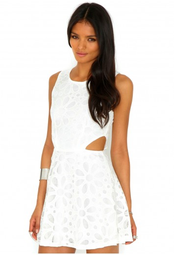 Margot Cut Out Floral Skater Dress - dresses - cut out dresses - missguided