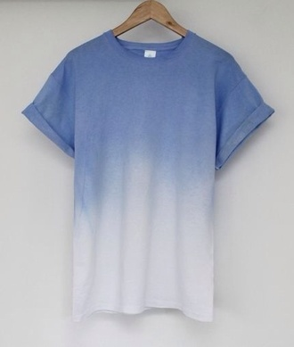 shirt tie dye gradient blue shirt ombre lavendar cuffed sleeves t-shirt blue white unisex