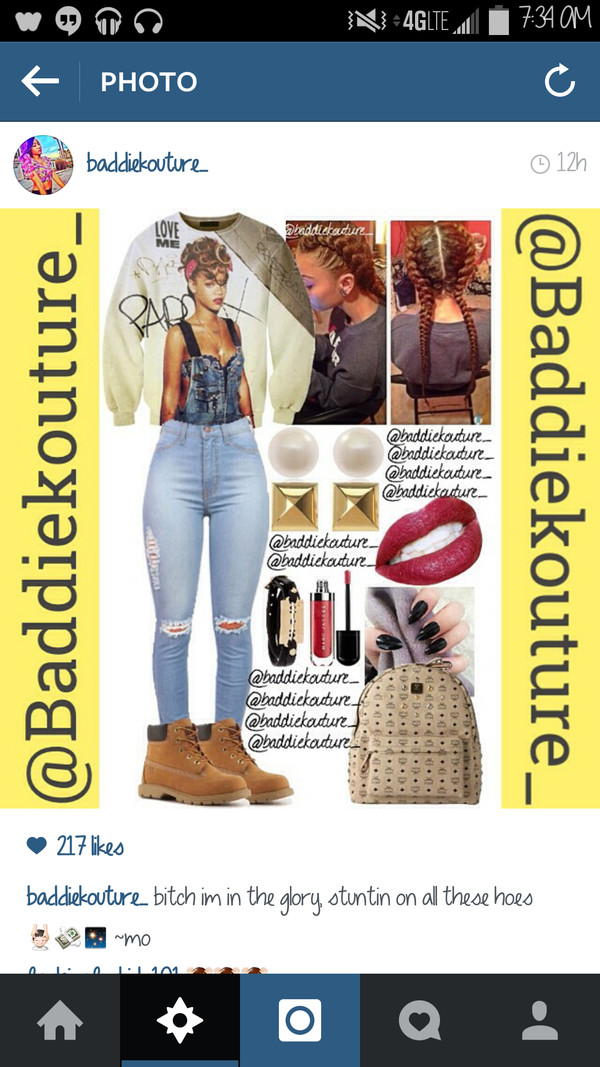 outfit baddiekouture_ outfit idea jeans bag make-up shorts shoes instagram rihanna ripped jeans braid mcm bag timberland mac cosmetics