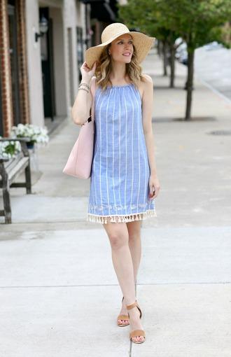 pennypincherfashion blogger dress shoes bag hat jewels straw hat blue dress mini dress tote bag sandals flats summer outfits