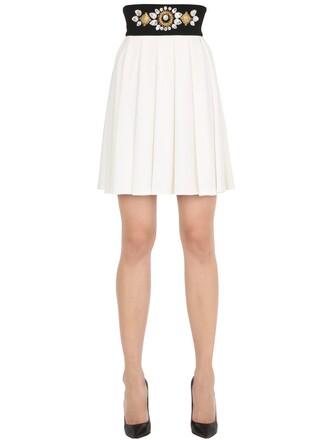 skirt pleated embellished white black