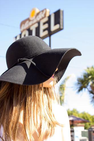 hat floppy festival black felt boho bohemian