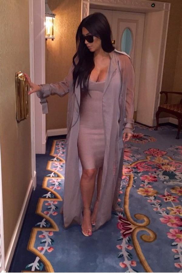 Jacket Kim Kardashian Sheer Shirt Long Trench Coat