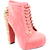Womens Pink Suede High Heel Platform Ankle Boots Lace Up Gold Spikes Ladies 3 8 | eBay