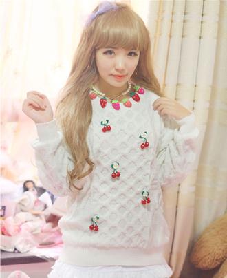 kawaii cute sweater cherry cherrys strawberry asian fashion japanese fashion tokyo fashion oversized sweater kfashion korean fashion cfashion chinese fashion