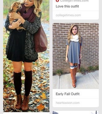 dress black dress boots fall outfits scarf