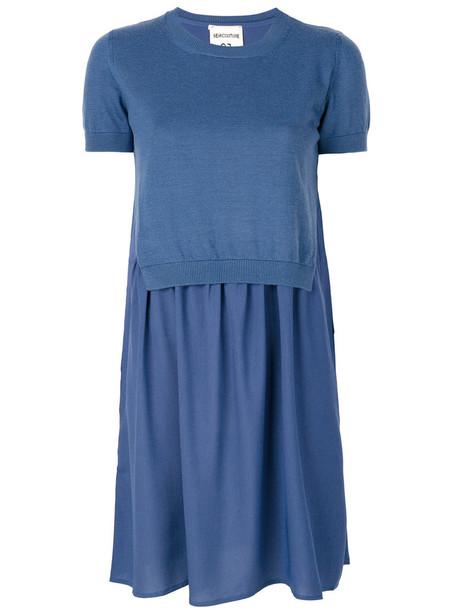 Semicouture dress women blue wool