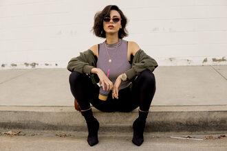 kris chérie blogger leggings jacket socks shoes sunglasses jewels boots sock boots army green jacket