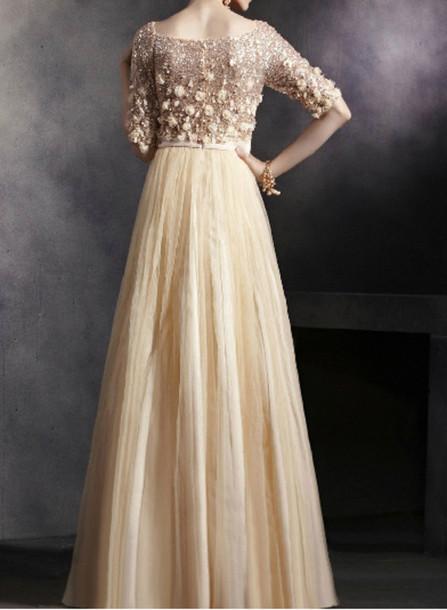 Half Sleeve Long Dress
