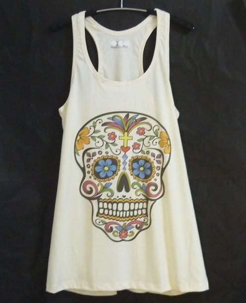 pajamas candy skull sugar skull skull clothing workout tank tops