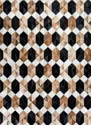 Infinity By Mosaic Rugs   Luxury Handcrafted Brown U0026 White Patchwork  Cowhide Rug   Modern Geometric Pattern Design