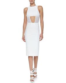 Overlay sheath dress with crop