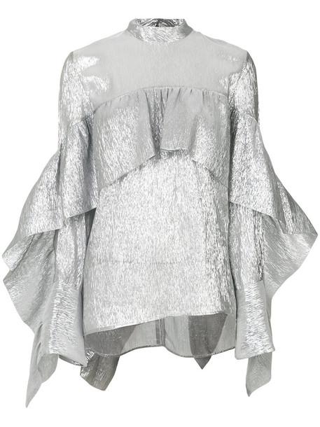Petar Petrov - crepe ruffled top - women - Silk/Polyester - 34, Grey, Silk/Polyester in metallic
