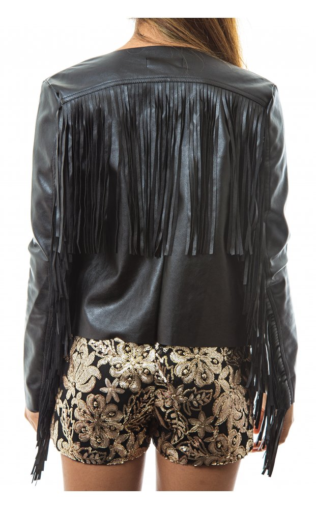 Leather Look Fringe Detail Jacket - from The Fashion Bible UK
