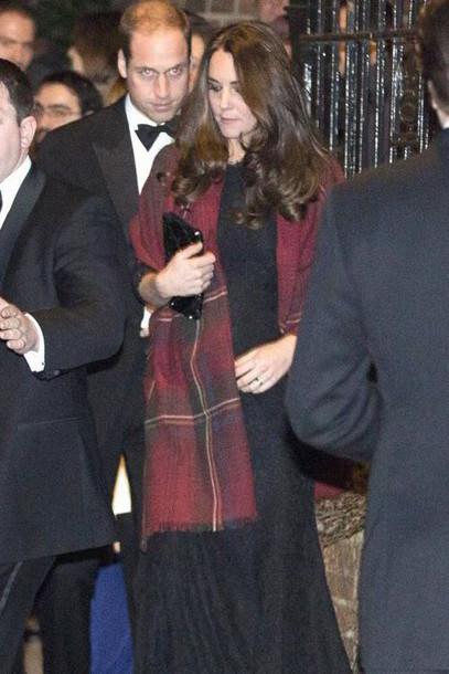 Kate Middleton Black Dress Blanket Scarf Dress Scarf Wheretoget