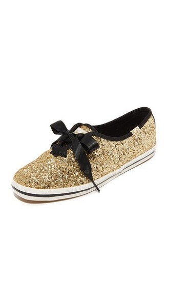 bow glitter sneakers gold shoes
