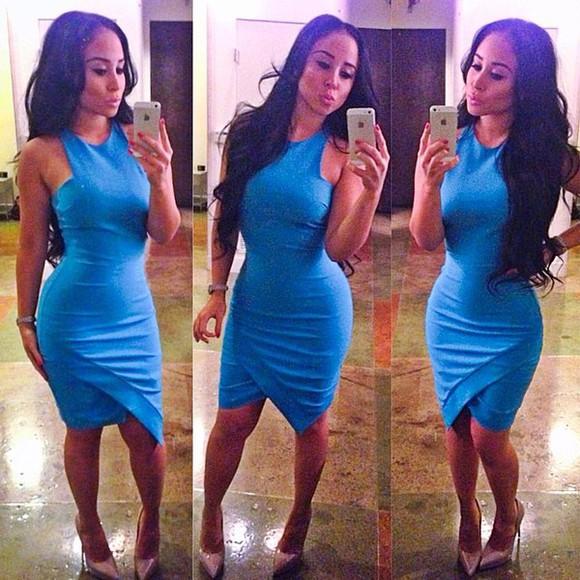 clothes dress midi dress midi skirt blue dress blue sexy tight dress sexy dress