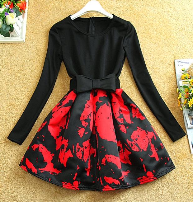 Cute elegant fashion flower bow dress
