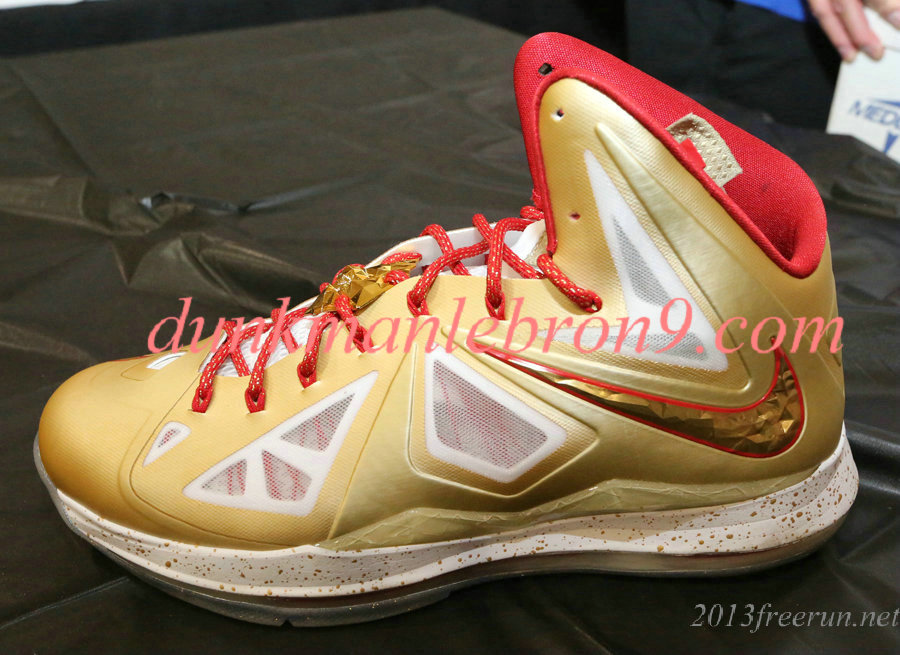 2013 Cheap Gold MVP Champ PE Nike Lebron 10 PE Ring Ceremony PE Gold White University Red Sale Online.