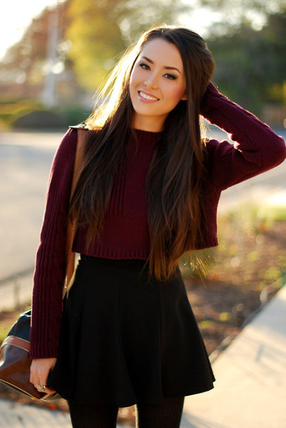 Sweater: red, burgundy, jumper, weheartit, cute sweaters, skirt ...