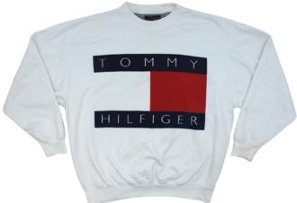 sweater white sweater oversized sweater tommy hilfiger vintage old school designer jumper