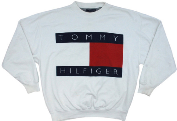 sweater designer white sweater oversized sweater tommy hilfiger vintage old school vintage tommy hilfiger