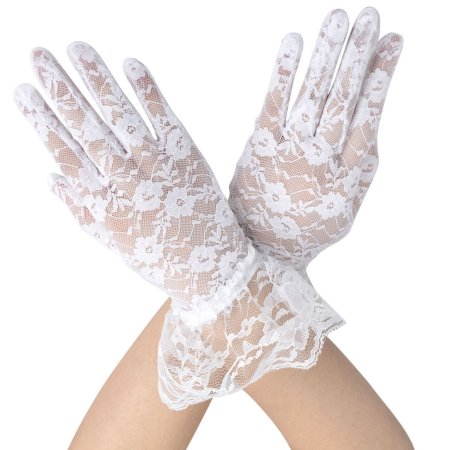 Simplicity Sheer Lace Floral Tulle Bridal Wedding Gloves w/ Wrist Ruffle, White - Walmart.com