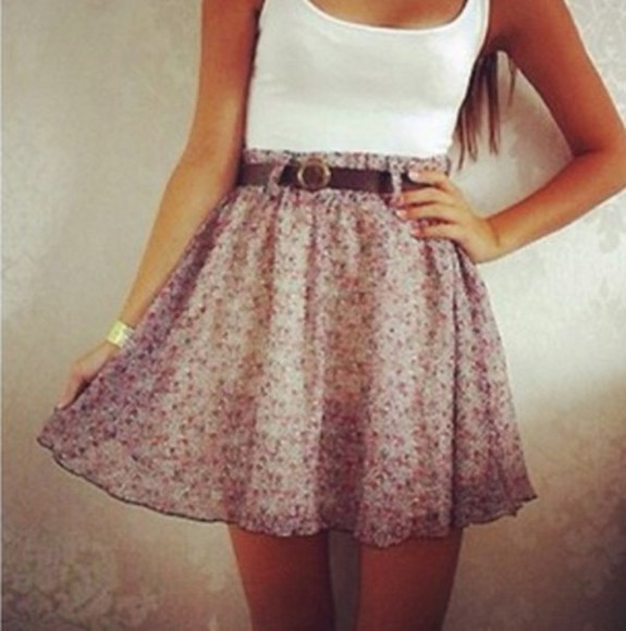 skirt white tank summer floral summer outfits dress